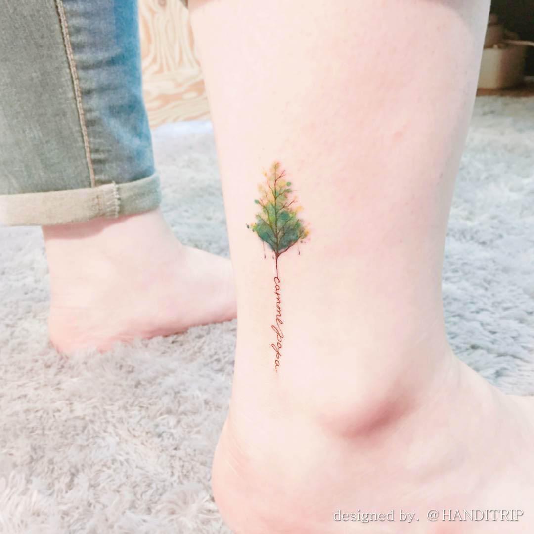 ankle tattoo treee illustration