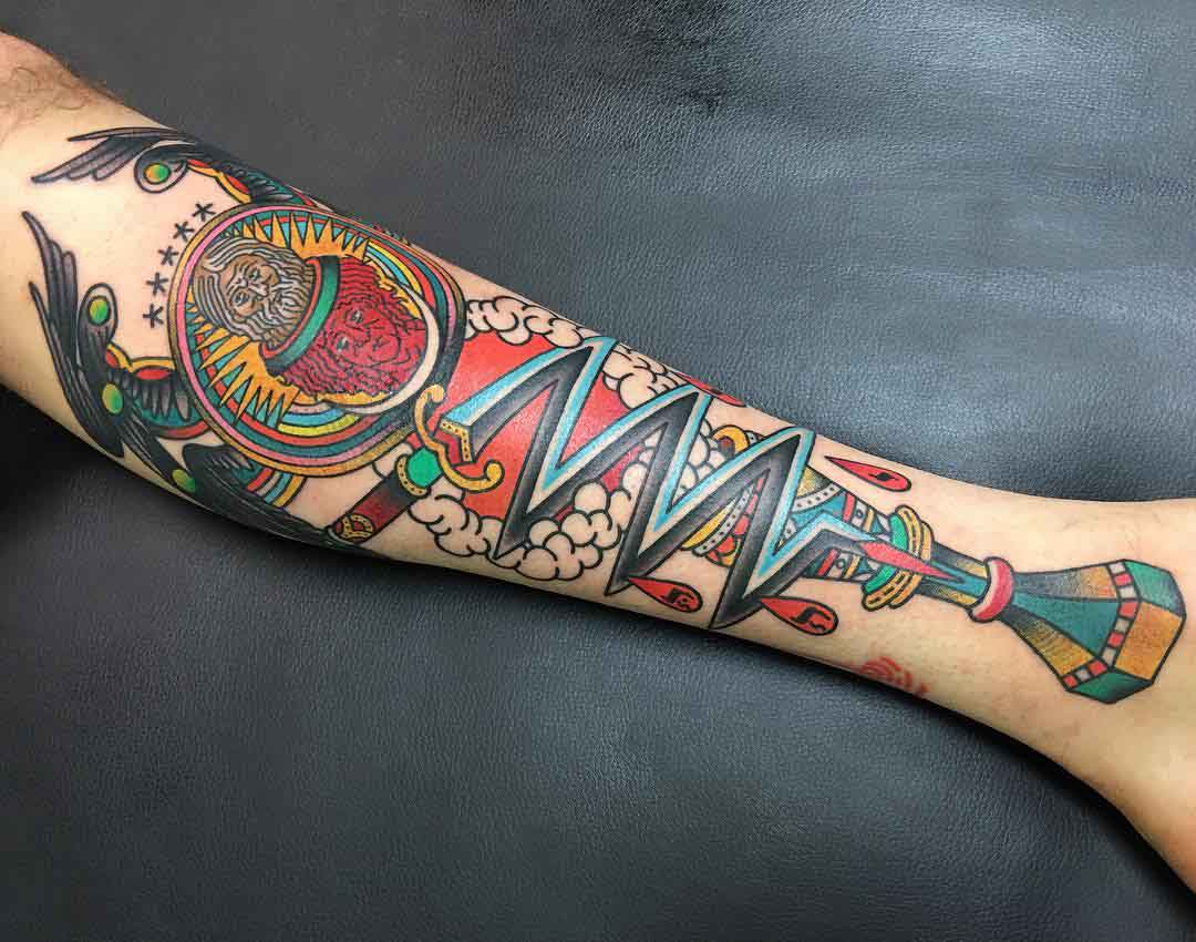 arm tattoo neo-traditional abstraction
