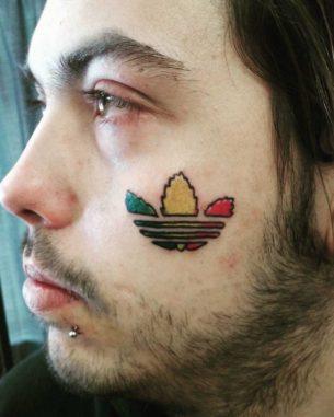 Adidas Logo Tattoo on Face