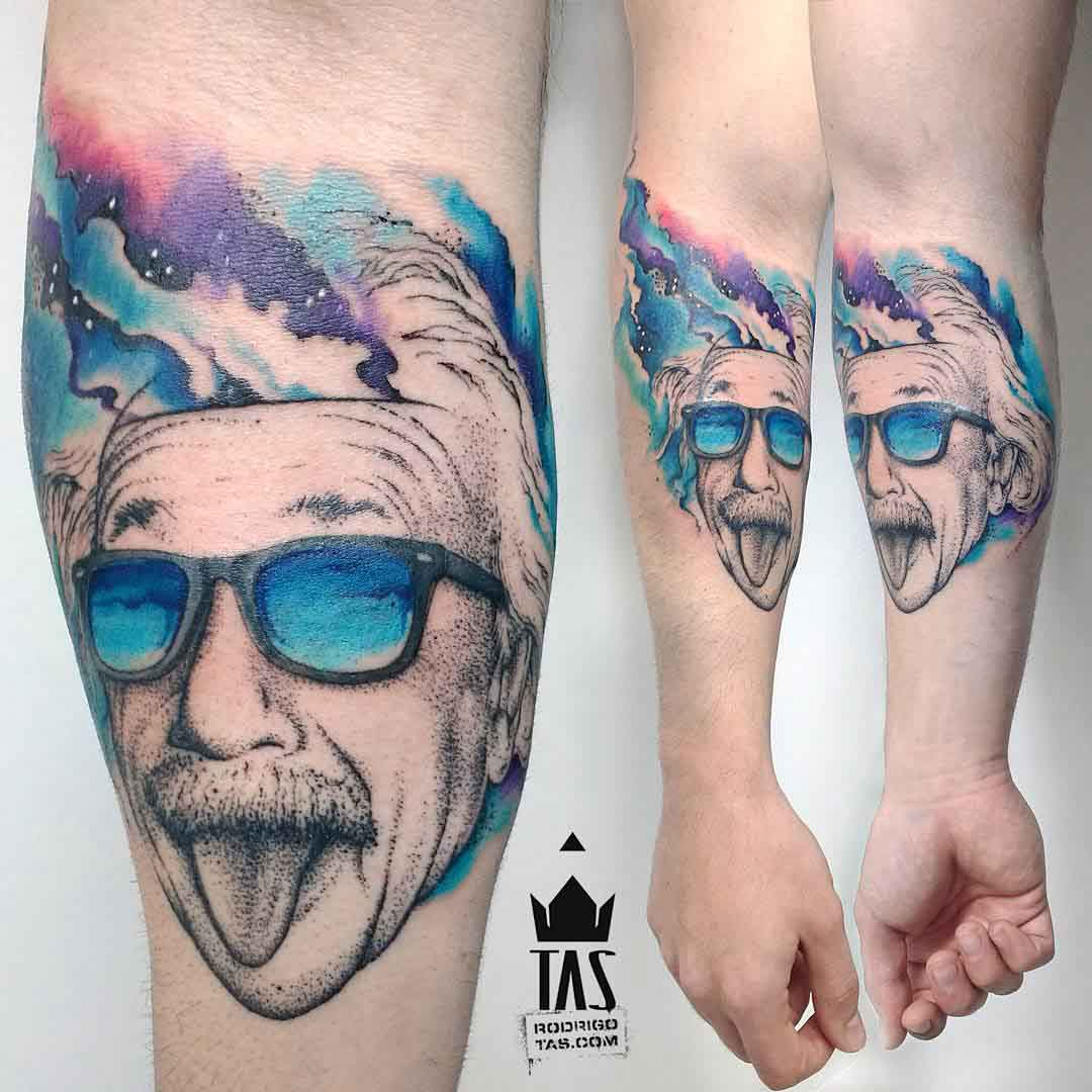 arm tattoo albert einstein