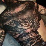 Amazing Landscape Tattoo on Back