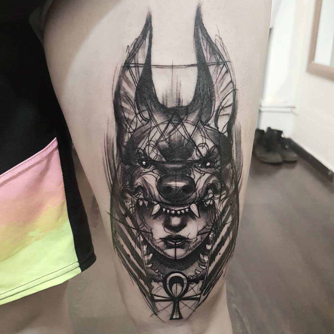 thigh tattoo anubis