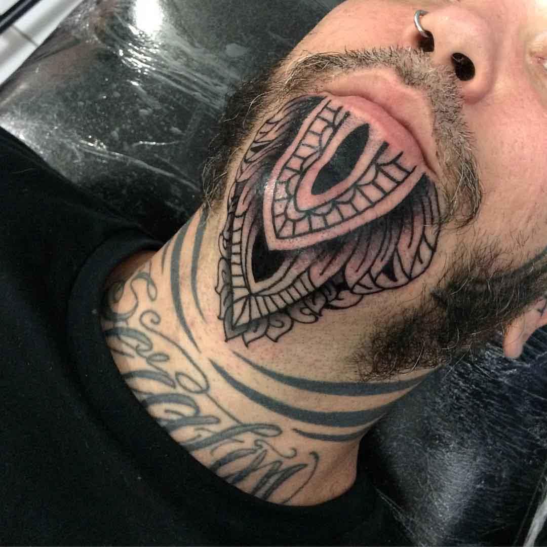 Beard-like Chin Tattoo by ribasxvx