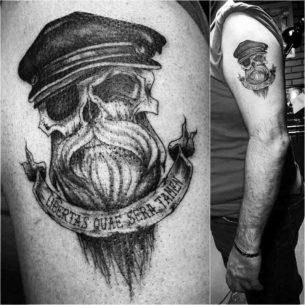 Bearded Skull Tattoo on Shoulder