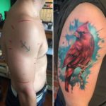 shoulder cover up tattoo bird