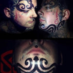 Big Tribal Tattoo on Chin