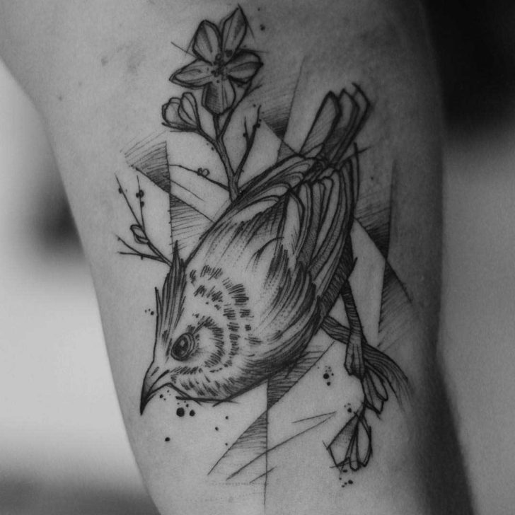 sketchy bird tattoo