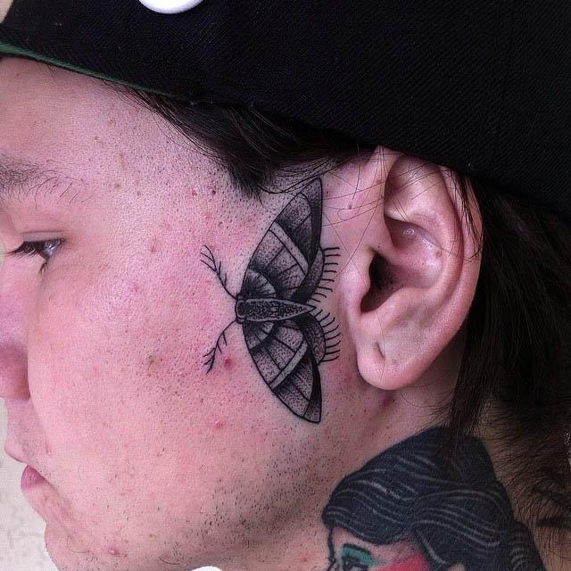 Butterfly Face Tattoo by @daggerknows