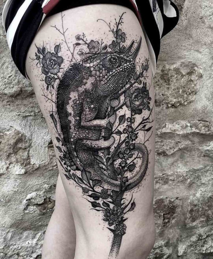 thigh tattoo chameleon