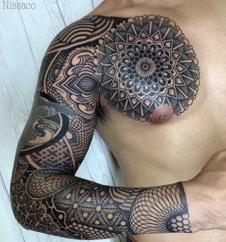mandala chest full tattoo sleeve dotwork style pattern