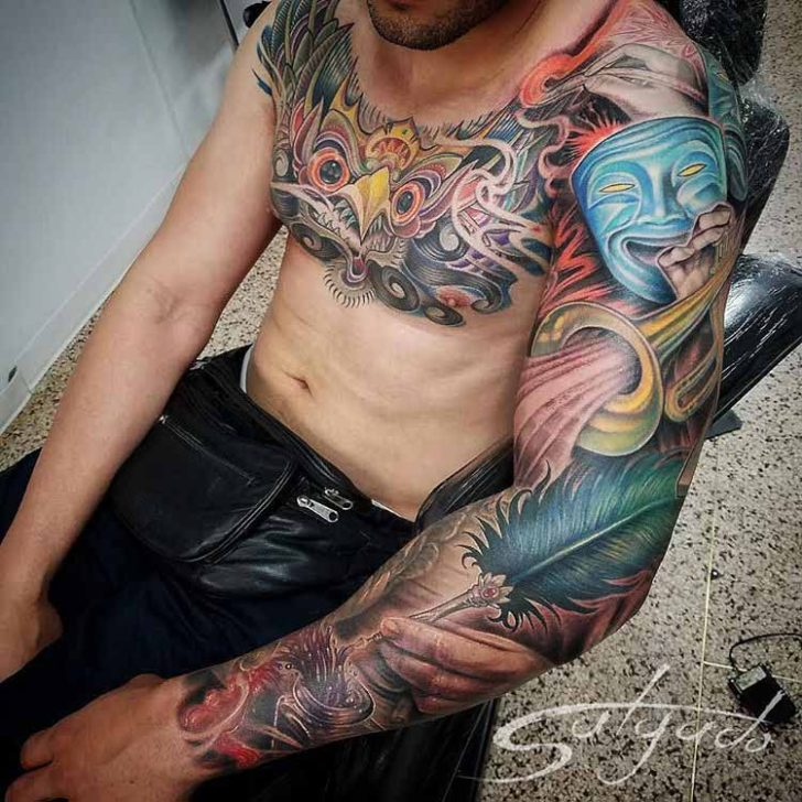 tattoo sleeve to chest art themed