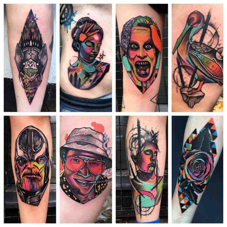 colorful tattoo designs of one artist