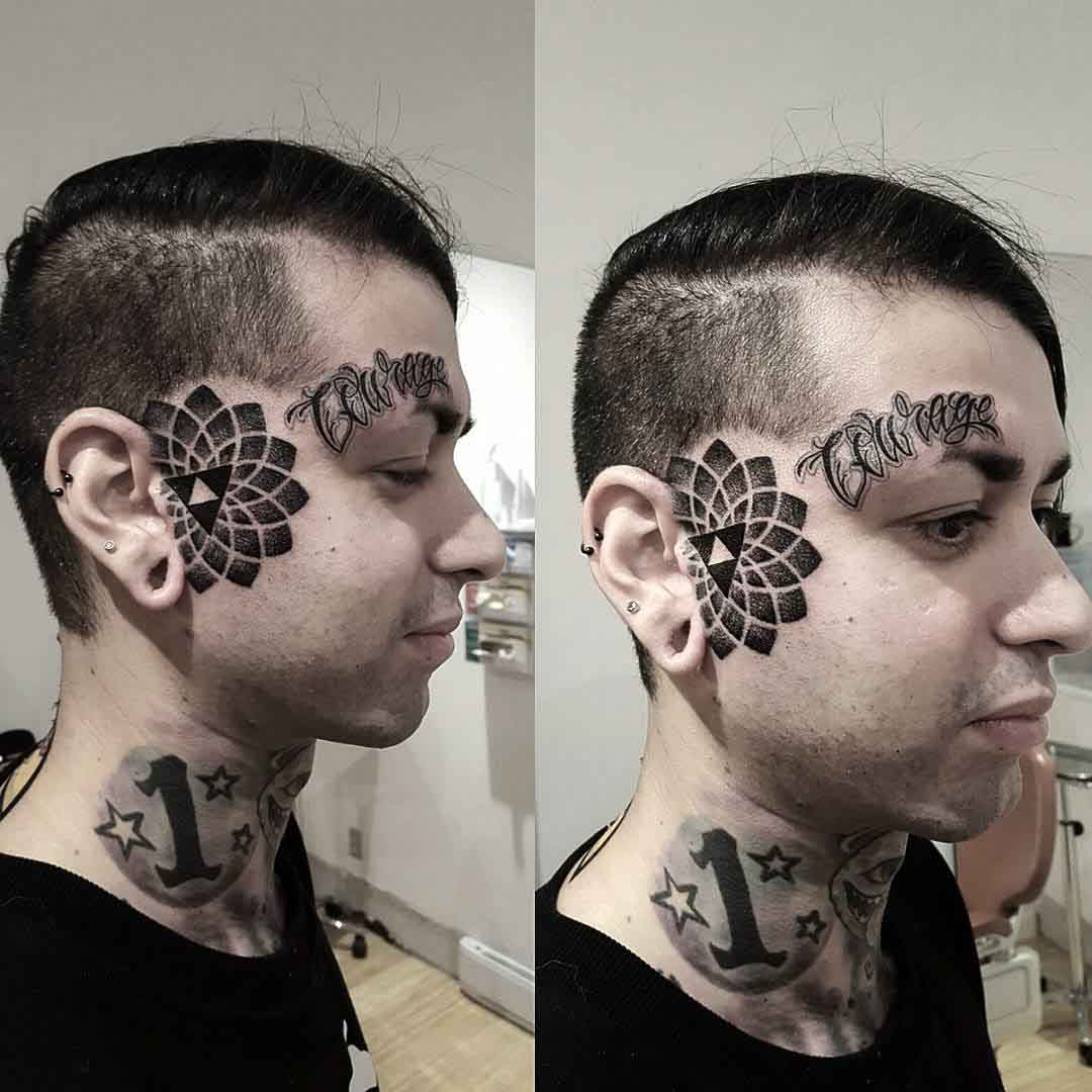 Cool Face Tattoos by mewo llama