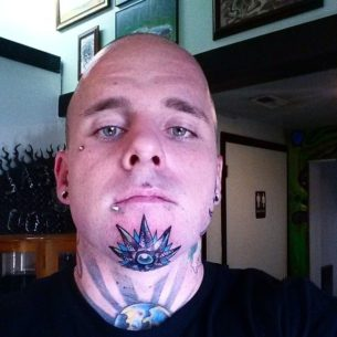 Crystal Star Chin Tattoo