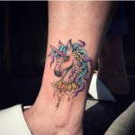 ankle unicorn tattoo