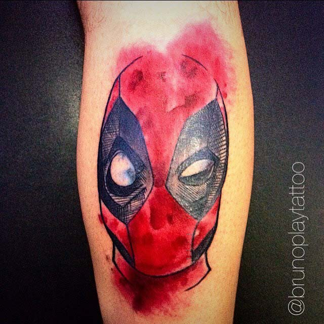 watercolor style deadpool tattoo
