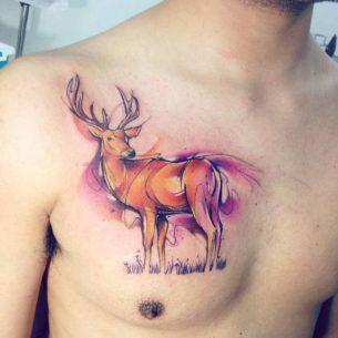 Deer Chest Tattoo