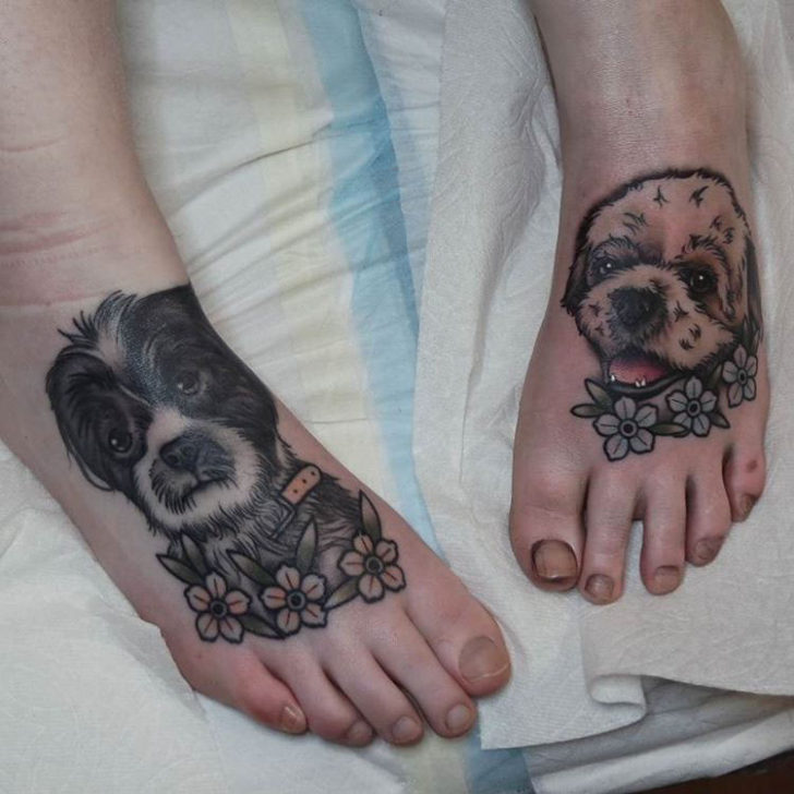 cool doggy tattoos on feet