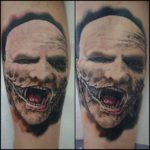 Freah and Healed Comparison of Corey Taylor tattoo by Alan Aldred