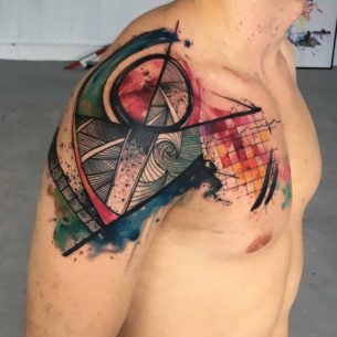 Freehand Abstract Tattoo on Shoulder