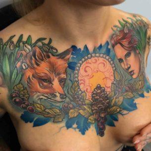 Girl Chest Tattoos