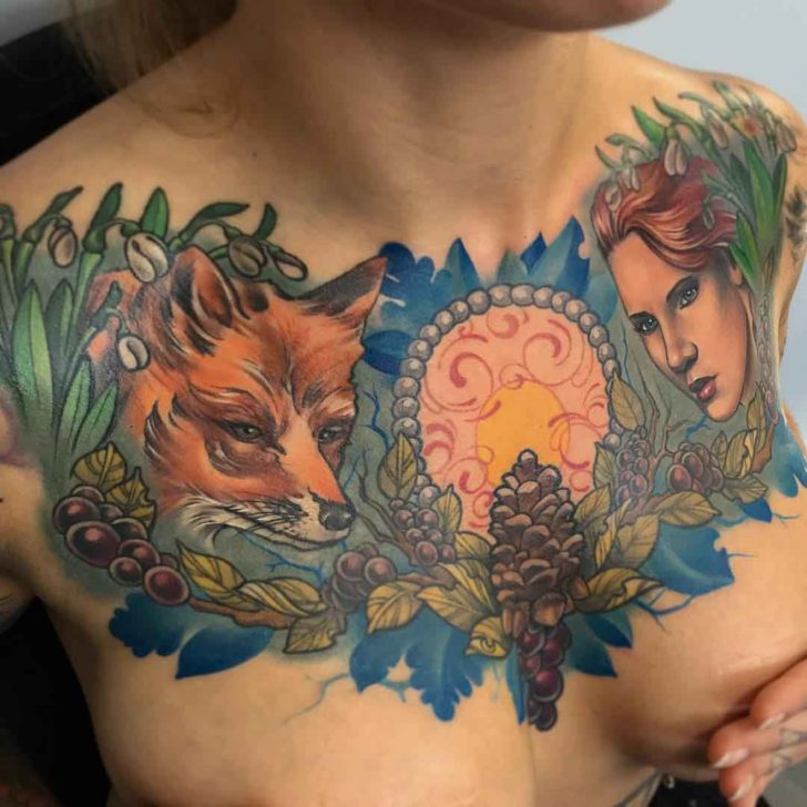 chest tattoo for girl