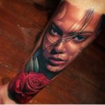 Girl With Rose Realistic Tattoo