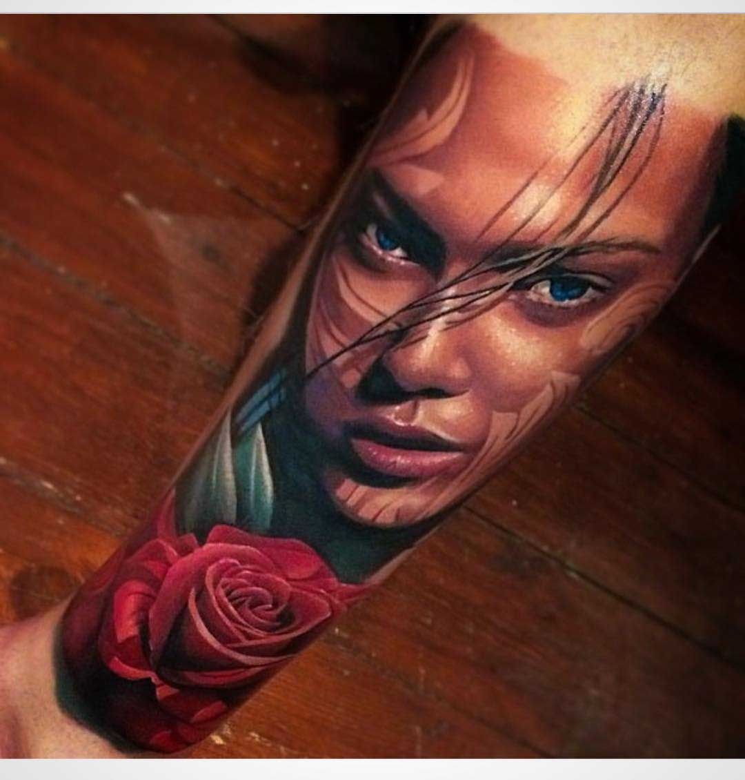 realistic forearm tattoo girl and rose