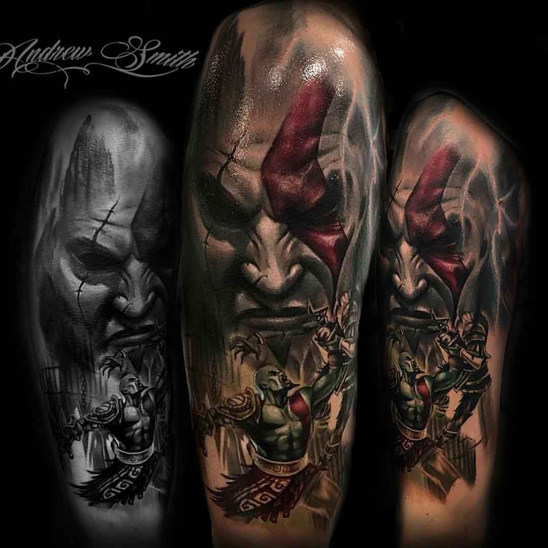 video game tattoo god of war realistic style