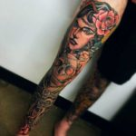 Gypsy Girl Leg Sleeve Tattoo