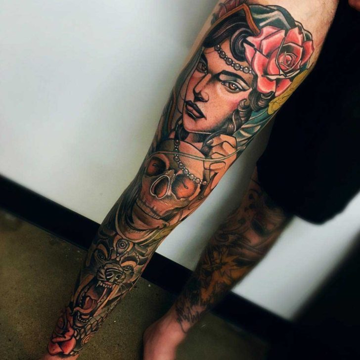 leg tattoo sleeve gypsy woman