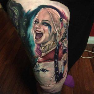Harley Quinn Tattoo on Thigh