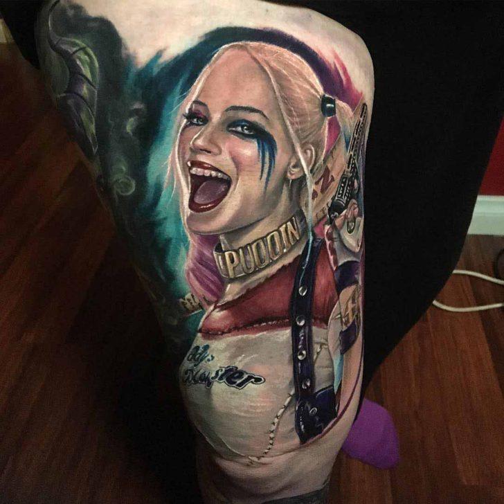 cool Harley Quinn portrait tattoo