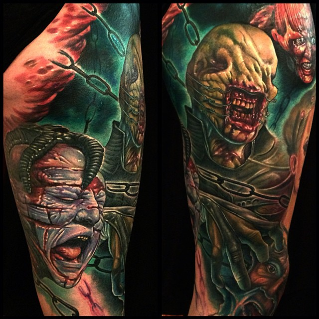 Healed Chatterer and Dr tattoo by corpsepainter