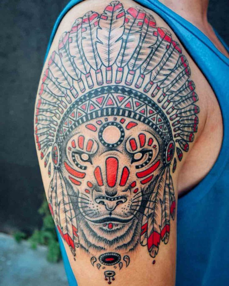 indian tattoo lion on shoulder