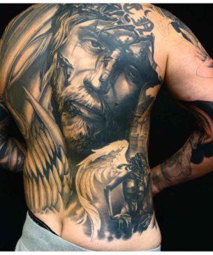 Full Back Jesus Tattoo