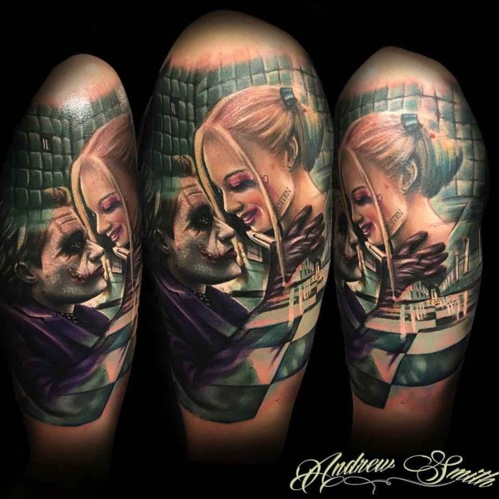 shoulder tattoo harley and joker