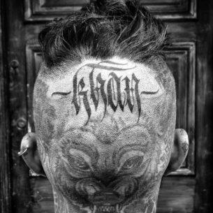 KHAN Tattoo on Head