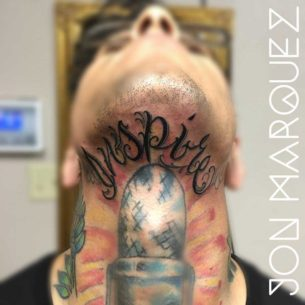 Lettering Tattoo Under The Chin