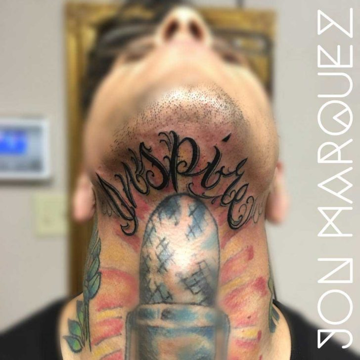 Lettering Tattoo Under The Chin by jonlivefreemarquez