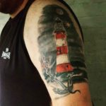 nautical shoulder tattoo realistic lighthouse