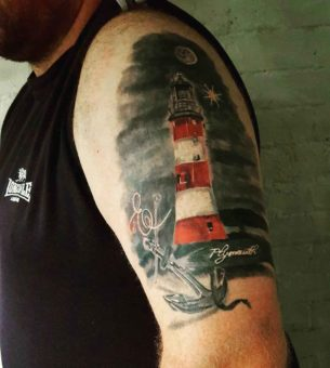 Lighthouse Nautical Shoulder Tattoo
