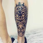 Maori Mask Calf Tattoo