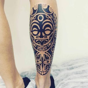 Maori Mask Calf Tattoo