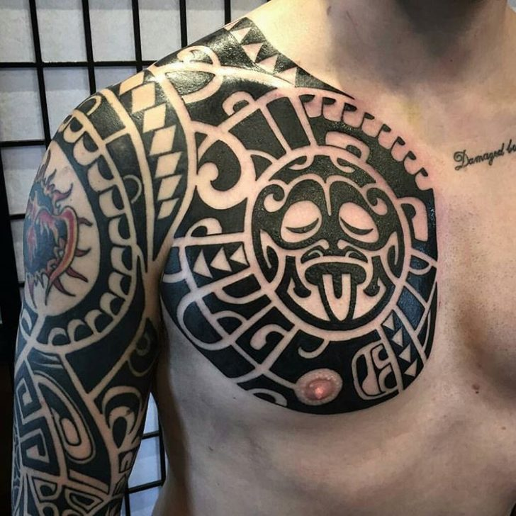 Maori Chest Tattoo by Christopher Kenyon