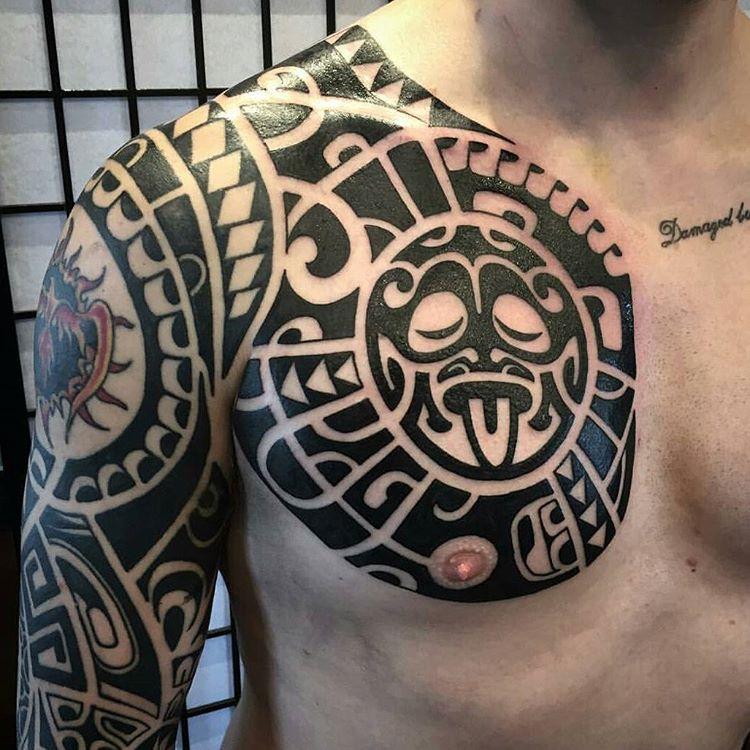Maori Chest Tattoo by Christopher Kenyon