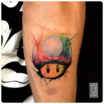 mushroom tattoo super mario watercolor style