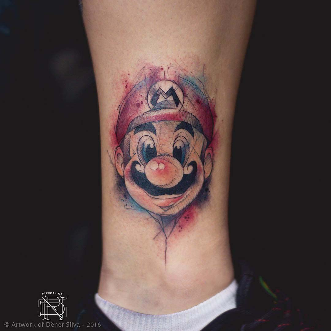 mario face tattoo on ankle