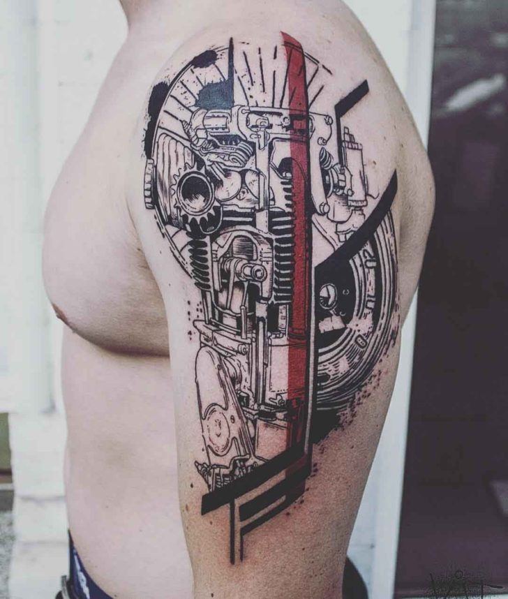 shoulder mechanic tattoo