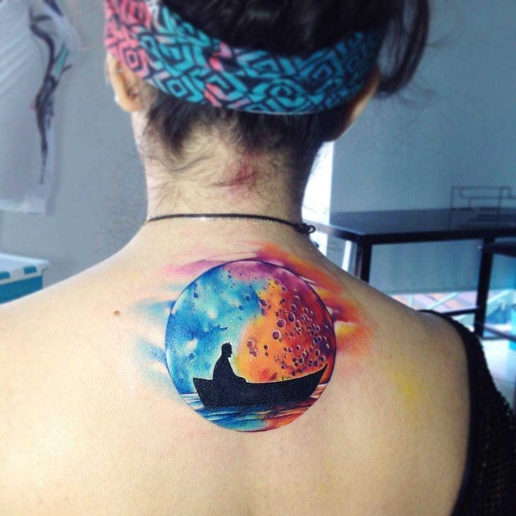 watercolor moon tattoo on back